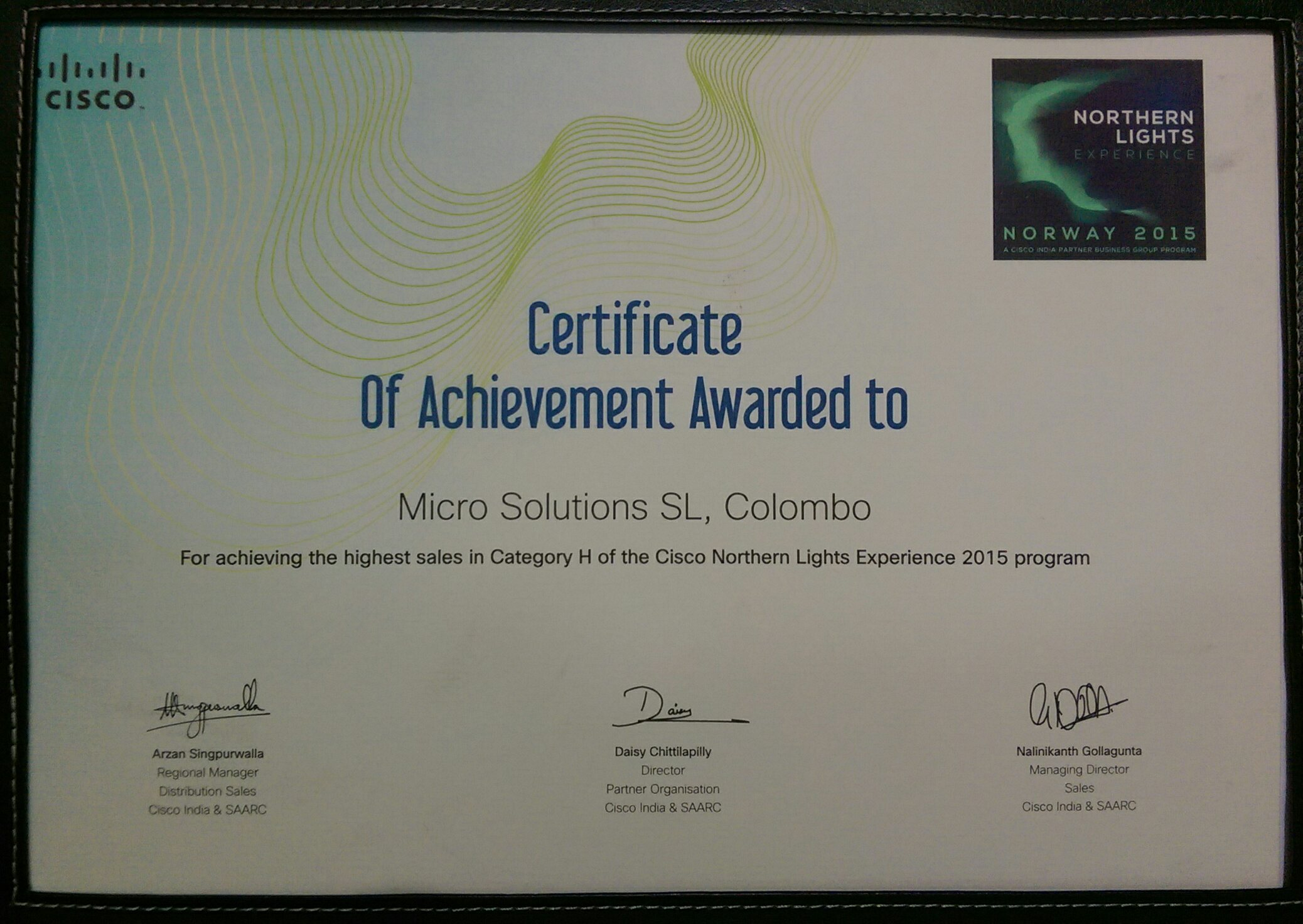 Northern Lights - Certificate of Achievement for achieving